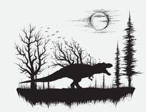Dinosaurus t -t-rex in vreemd bos royalty-vrije illustratie