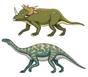 Dinosaurus Triceratops, Barosaurus, Apatosaurus, Tenontosaurus Plateosaurus, brede hagedis, Massospondylus, Diplodocus vector illustratie
