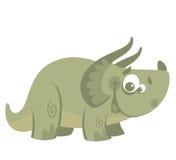 Dinosaurus van beeldverhaal de grappige groene triceratops Stock Foto's