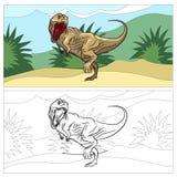 Dinosaurus voor het kleuren van boek Stock Afbeelding