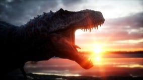 dinosaurus Voorhistorische periode, rotsachtig landschap Wonderfullzonsopgang het 3d teruggeven Stock Afbeelding