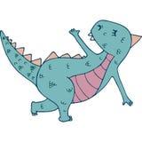 Dinosaurus in yogaasana royalty-vrije illustratie