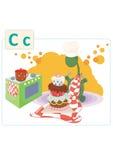 Dinosaurusalfabet, brief C van cake Royalty-vrije Stock Afbeelding