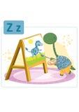 Dinosaurusalfabet, brief Z van zebra Stock Fotografie