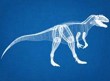 Dinosaurusarchitect Blueprint royalty-vrije stock afbeeldingen