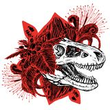 Dinosaurushoofd van turexschedel en rood met zwarte bloemen royalty-vrije illustratie
