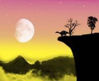 Dinosauruslandschap en maanlicht Royalty-vrije Stock Fotografie