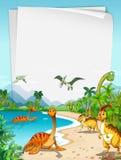 Dinosaurussen bij de oceaan Stock Foto's