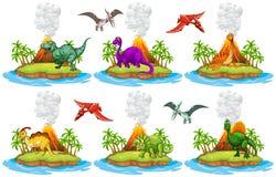 Dinosaurussen die op het eiland leven Royalty-vrije Stock Foto