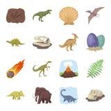 Dinosaurussen en voorhistorische vastgestelde pictogrammen in beeldverhaalstijl Grote inzameling van dinosaurussen en voorhistori Royalty-vrije Stock Fotografie