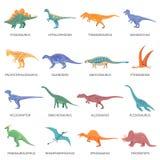 Dinosaurussen Gekleurde Geplaatste Pictogrammen Royalty-vrije Stock Foto's