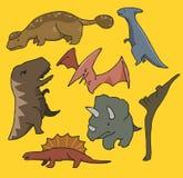 Dinosaurussen geplaatst vlak Stock Fotografie