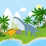 Dinosaurussen in het landschap Stock Foto