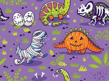 Dinosaurussen in kostuums voor Halloween Vector naadloos patroon stock illustratie