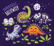 Dinosaurussen in kostuums voor Halloween Vectorreeks karakters Royalty-vrije Stock Foto's