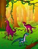 Dinosaurussen op de achtergrond van bos royalty-vrije illustratie