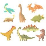 Dinosaurussen van Juraperiodereeks Voorhistorische Uitgestorven Reuze Realistische Dieren van het Reptielenbeeldverhaal stock illustratie
