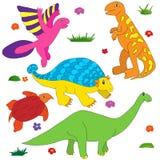 Dinosaurussenbeeldverhaal kleurrijk kleuren Royalty-vrije Stock Afbeeldingen