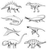 Dinosaurussenelasmosaurus, mosasaurus, barosaurus, diplodocus, pterosaur, ankylosaurus, triceratops, fossielen, gevleugelde haged vector illustratie