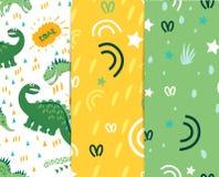 Dinosaurussengang in de weide Voor registratie van de kleding van kinderen, stoffen, prentbriefkaaren, boeken Het naadloze patroo vector illustratie
