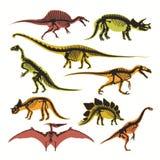Dinosaurussenskeletten en silhouetten vector vlak geïsoleerde pictogrammen van tyrannosaurus, pterodactylus en brontosaurus stock illustratie