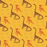 Dinosaurusskelet en fossielen Vector naadloos patroon Origineel ontwerp met parasaurolophus, diplodocus en sporen vector illustratie