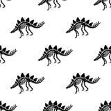 Dinosaurusskelet en fossielen Vector naadloos patroon royalty-vrije illustratie