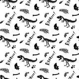 Dinosaurusskelet en fossielen Vector naadloos patroon stock illustratie