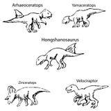 Dinosaury z imionami Ołówkowy nakreślenie ręką Obrazy Stock