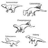 Dinosaury z imionami Ołówkowy nakreślenie ręką Zdjęcie Royalty Free
