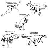 Dinosaury z imionami Ołówkowy nakreślenie ręką Zdjęcia Royalty Free
