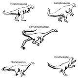 Dinosaury z imionami Ołówkowy nakreślenie ręką Fotografia Stock