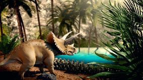 Dinosuar 3D Rendering. Dinosour life in forest. Photo 3D Stock Photos