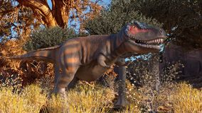 Dinosuar 3D Rendering. Dinosour life in forest. Photo 3D Stock Images