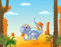 Dinossauro adorável que senta-se com fundo prehictoric ilustração royalty free