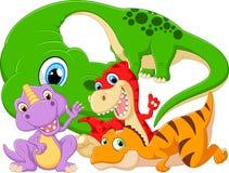 Dinossauro ajustado da coleção com bebê Imagem de Stock