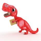 Dinossauro amigável dos desenhos animados com caixa de cartão Fotografia de Stock