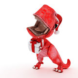 Dinossauro amigável dos desenhos animados com a caixa de Natal do presente Imagens de Stock Royalty Free