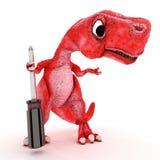 Dinossauro amigável dos desenhos animados com chave de fenda Fotos de Stock Royalty Free