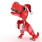 Dinossauro amigável dos desenhos animados com a caixa de Natal do presente Imagem de Stock Royalty Free