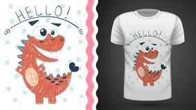 Dinossauro bonito da princesa - ideia para o t-shirt da cópia ilustração do vetor