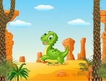 Dinossauro bonito do bebê que corre no fundo do deserto Imagem de Stock Royalty Free