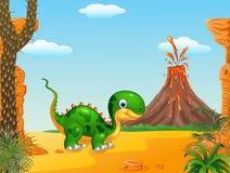 Dinossauro bonito do bebê que levanta no fundo do deserto Fotografia de Stock Royalty Free