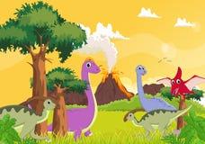 Dinossauro bonito dos desenhos animados com fundo do vulcão ilustração stock
