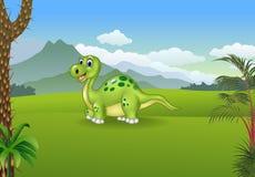 Dinossauro bonito dos desenhos animados que levanta com o fundo pré-histórico Fotografia de Stock