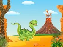 Dinossauro bonito que corre no fundo pré-histórico Fotografia de Stock Royalty Free