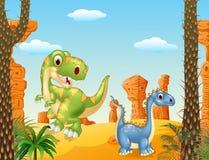 Dinossauro bonito que levanta no fundo do deserto Foto de Stock Royalty Free