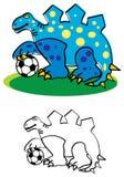 Dinossauro com futebol ilustração do vetor