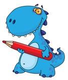 Dinossauro com um lápis ilustração stock