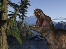 Dinossauro de Rex- 3D do Tyrannosaurus Fotos de Stock Royalty Free